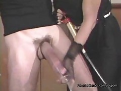 His Little Cock Is Turned Into A Huge Monster By The Cock Pumping Mistress