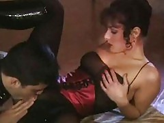 Sexy brunette in black long shiny boots pussy licked and ass...
