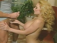 Rebecca Bardoux's tits creamed by Peter North