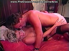 Nasty blonde in stockings rammed hard on bed