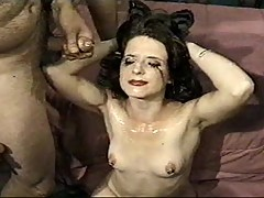 white slut gets cummed on by over 50 guys