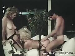 Vintage Threesome Action With Hairy Dudes And Hairy Pussy Action
