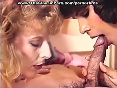 Two babes give massage, head, and ride his cock in classic porn