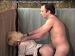 Vintage sex scene of blonde being banged on the balcony