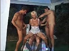 Retro gangbang of a babe in white lingerie