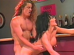 Slutty brunette bitch banged by bartender
