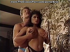 Busty brunette fucked by horny rocker in hot 3some