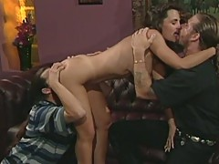 Horny brunette lisa ann fucked by two dicks