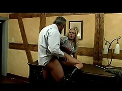 Nasty maid plays with her boss snake