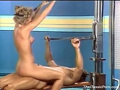 Fucking an 80s gym girl in retro video