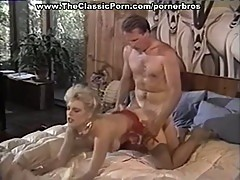 Vintage blonde in stockings gets pussy pounded