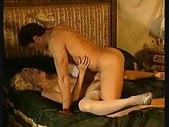 Curly hair retro girl anal sex