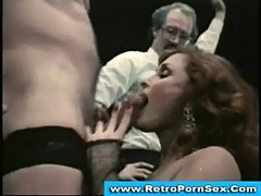 Blowjob contest in 1980s retro porn movie