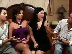 It's a classic bait and switch on this weeks Wife Switch as the Brook's meet the Hardy's for a few drìnks. Before long the clothes come off and the ladies start sucking off each other's husbands huge cocks. Soon, the guys wind up balls deep in a ti
