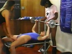 Three horny babes give slits workout