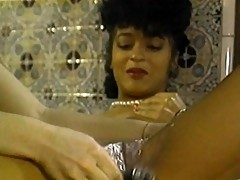 Shaved pussy lathered with soap then fingered