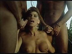 Retro suck and fuck orgy outdoors in a tree