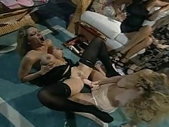 A Hot Lesbian Scene With The Two Hot Blondes Caressa And Tiffany