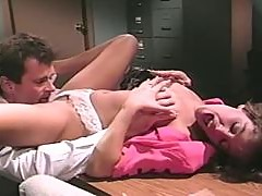 Sexy babe gets her tits cummed in the office